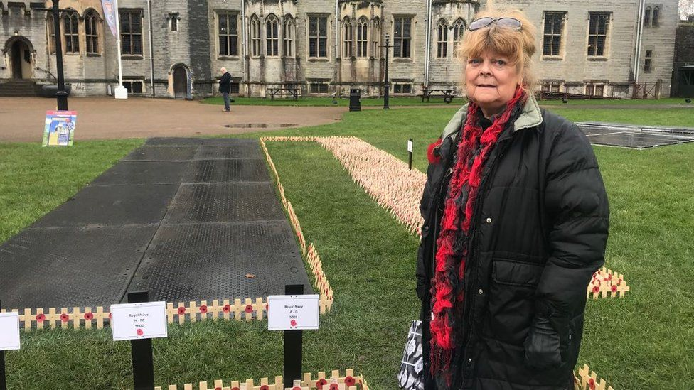 Dawn Davies, 73, daughter of Leading Seaman Claude Leslie Arkell, attending the Field of Remembrance at Cardiff Castle