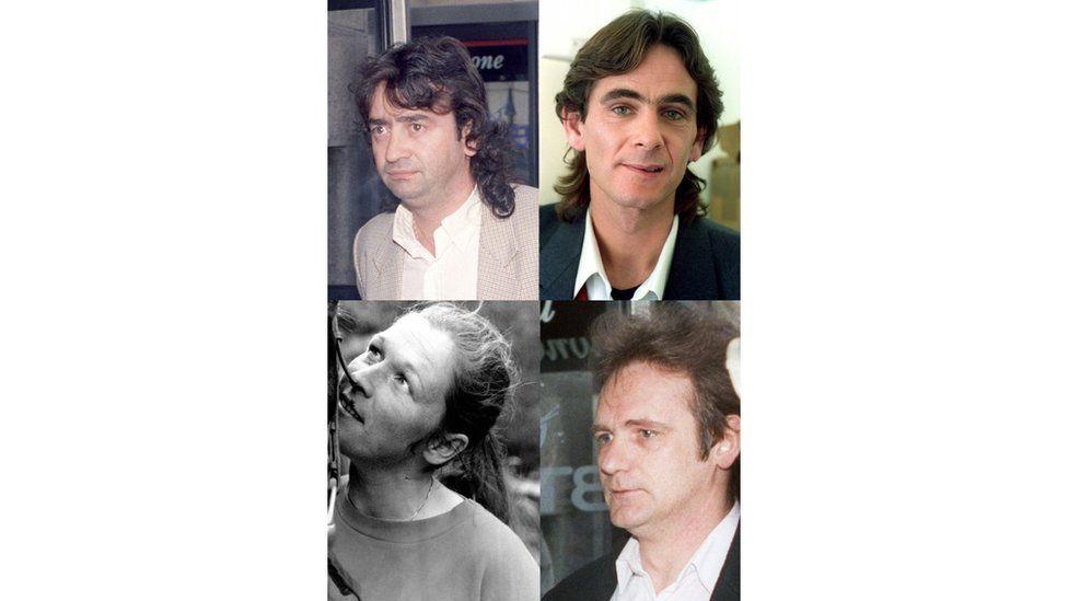 "Guildford Four - clockwise - Gerald ""Gerry"" Conlon (1991), Paul Hill (1989), Patrick Armstrong (1991), Carole Richardson (1989)."