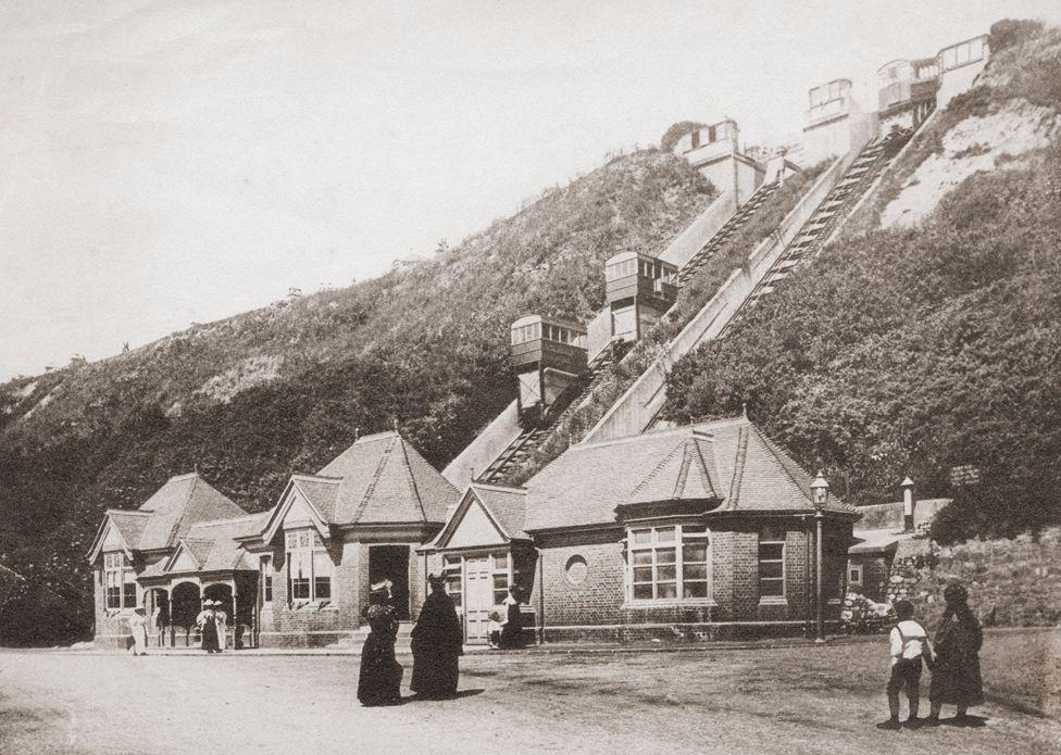 Folkestone's funicular railway in Victorian era