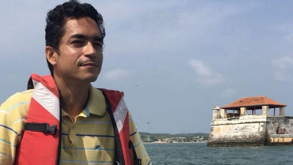 Bladimir Basabe on a boat