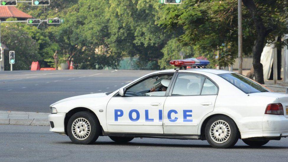 A Sri Lankan Police Vehicle seen in near Colombo, Sri Lanka, on 21 March 2020