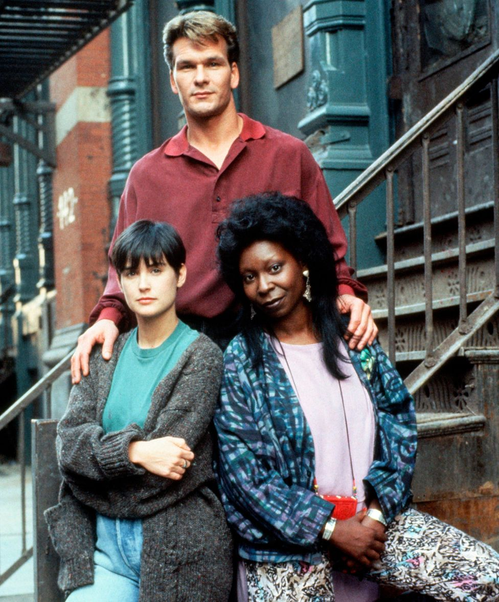 Demi Moore, Patrick Swayze and Whoopi Goldberg (right)