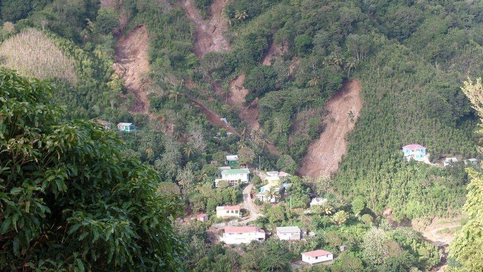 A view of a hillside in Petite Savanne