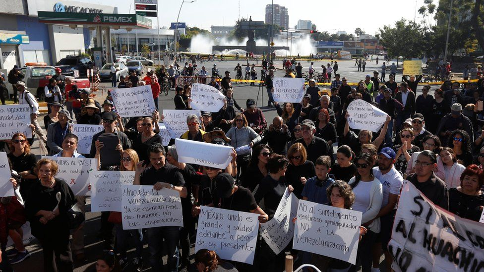 Protesters demonstrate against fuel shortages in Mexico