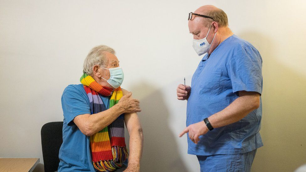 Sir Ian McKellen with GP Dr Phil Bennett-Richards