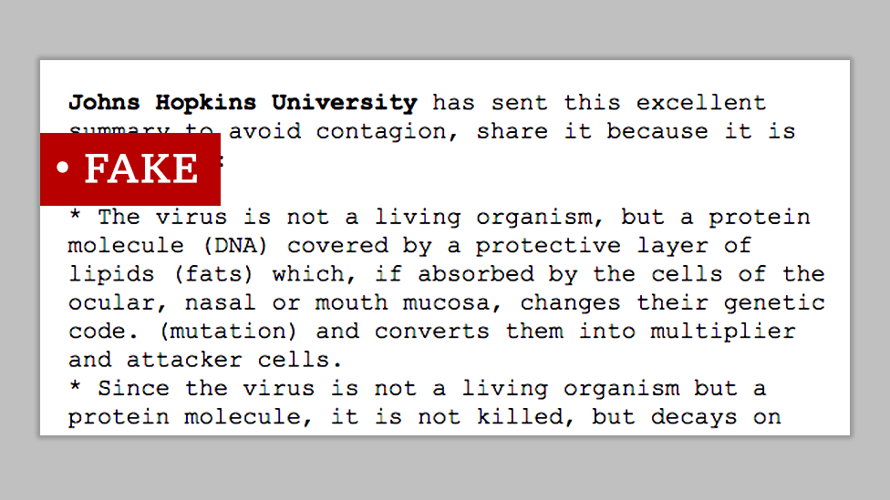 Fake post attributed to Johns Hopkins University