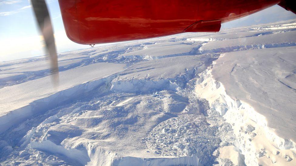 Vista da Antártida do avião