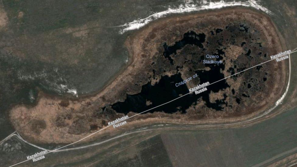 Satellite view of Lake Sladkoye