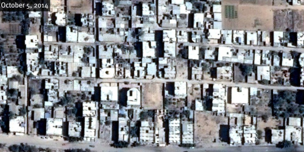 "Satellite image shows building before demolition in central Rafah on October 5, 2014. Center Coordinates : Geo-34°14'13.106""E 31°17'15.48""N ; MGRS-36RXV1773762140. Pléiades-1 © CNES 2015/Distribution Airbus DS"