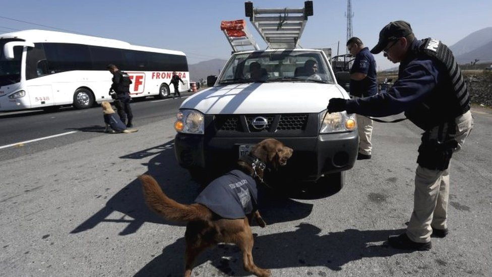 Police inspect a vehicle at a security checkpoint in Saltillo, Mexico (04 March 2016)