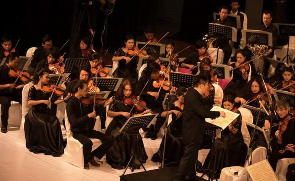 The National Symphony Orchestra Of Myanmar, during a performance
