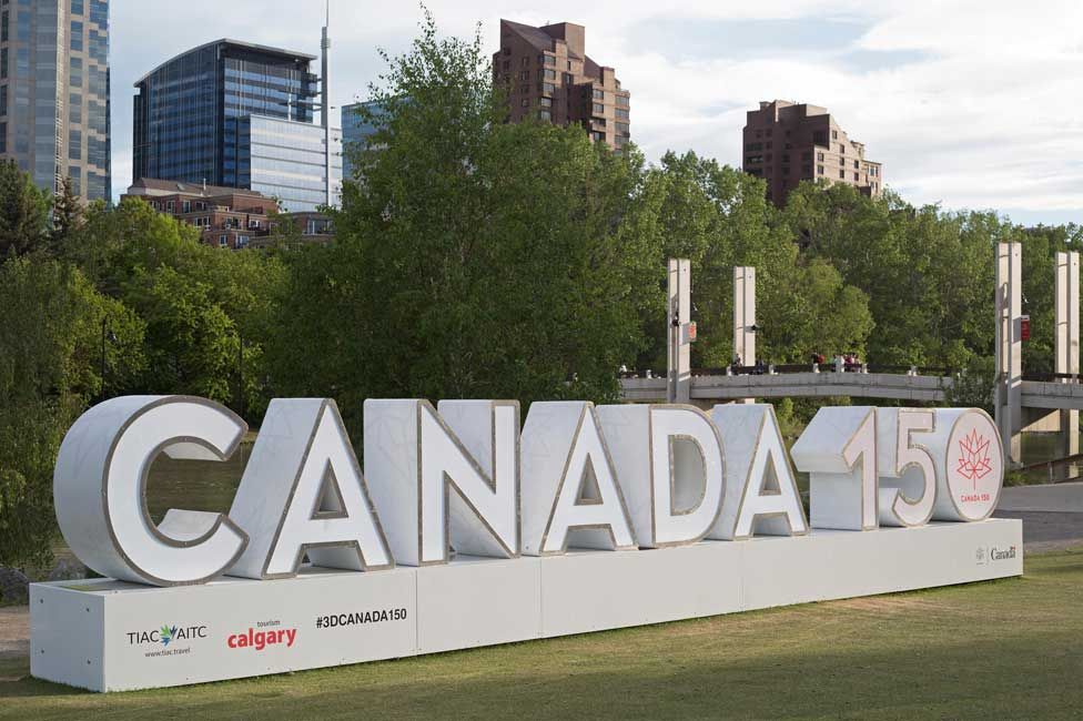 A large 3D Canada 150 sign in Calgary