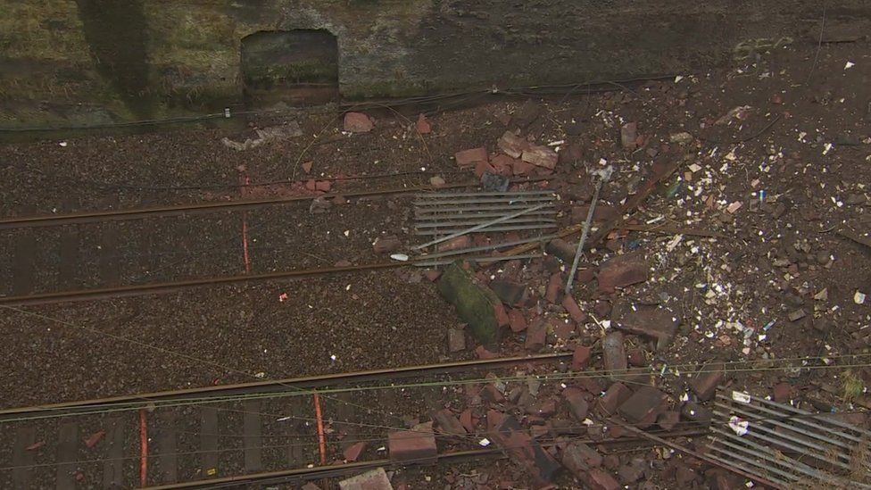 rubble on the tracks