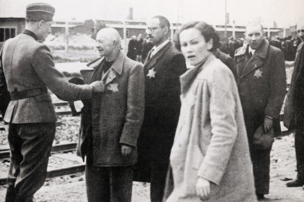 German inspection of Jews arriving at Auschwitz, 1944