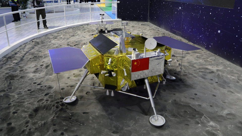 "A model of the moon lander for China""s Chang""e 4 lunar probe is displayed at the China International Aviation and Aerospace Exhibition, or Zhuhai Airshow, in Zhuhai, Guangdong province, China November 6, 2018."