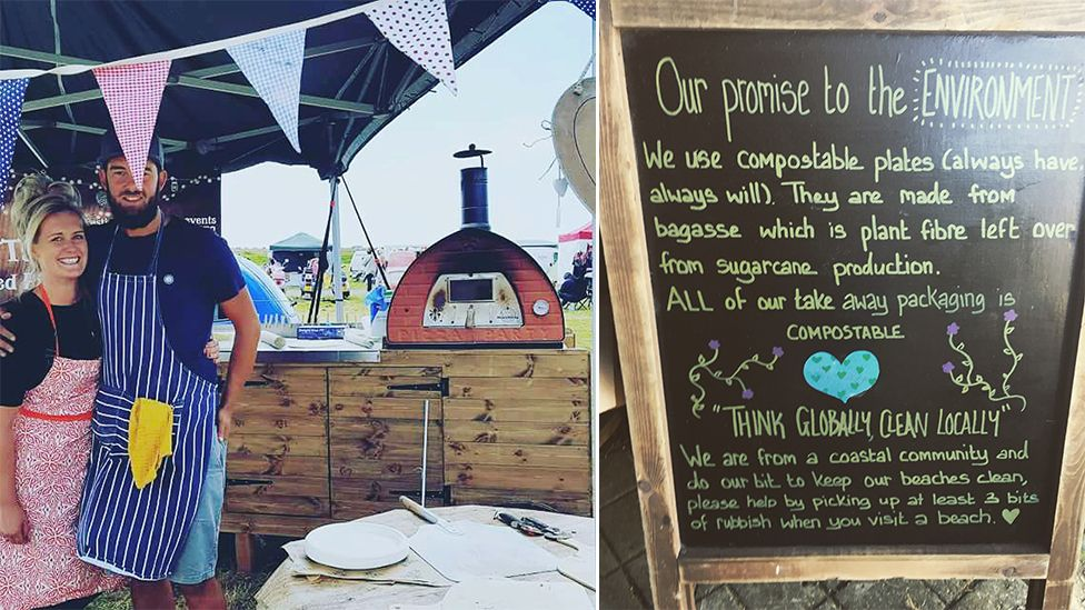 Kate Reed and her husband Huw running their business, with a picture of their sign