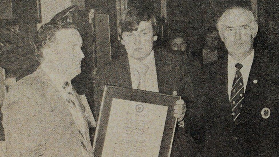 Jock Stein presenting Torbett with award