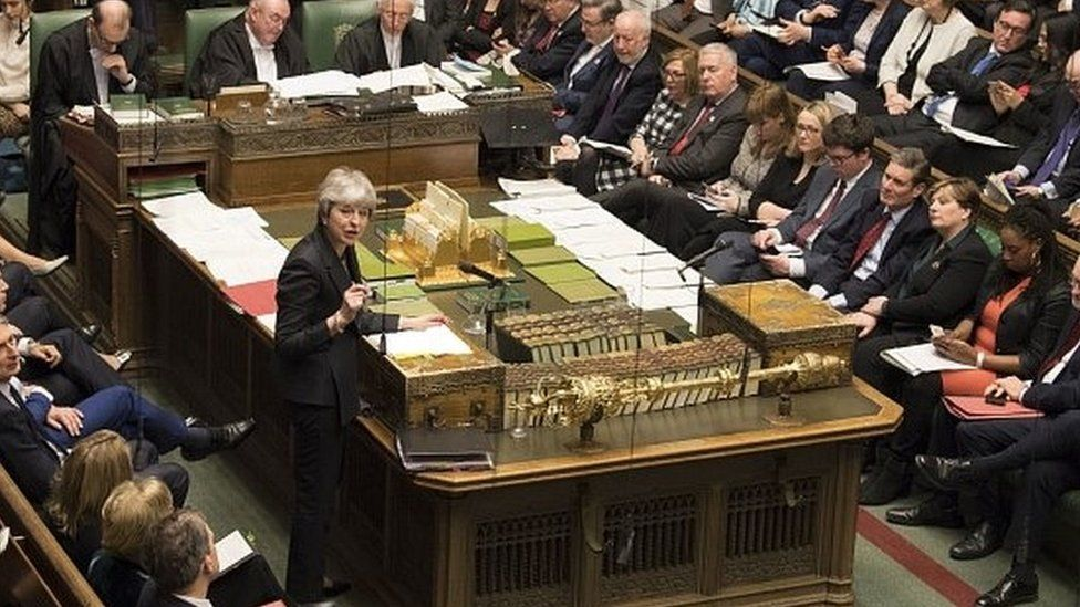 Theresa May addressing the House of Commons