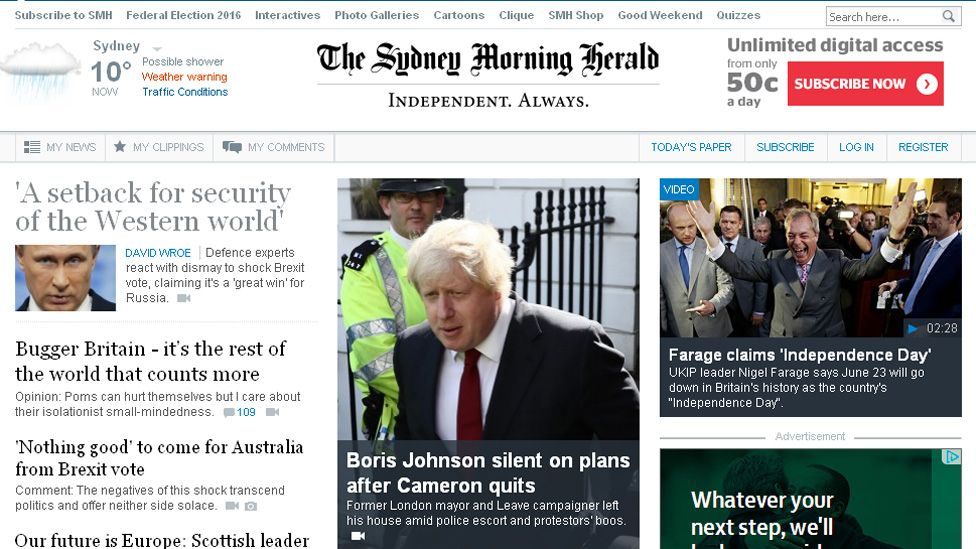 The Sydney Morning Herald online edition