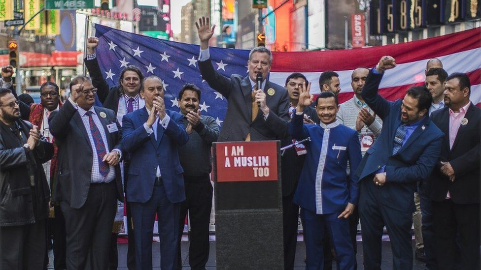 New York City Mayor Bill de Blasio speaks during a rally in support of Muslim Americans and protest of President Donald Trump's immigration policies in Times Square, New York, Sunday, 19 February 2017