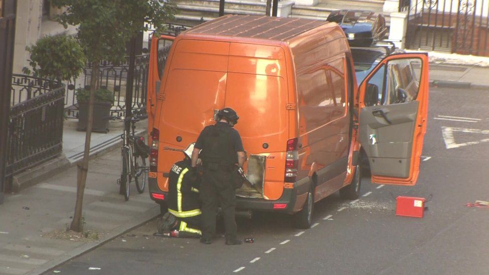 The van parked outside the BBC