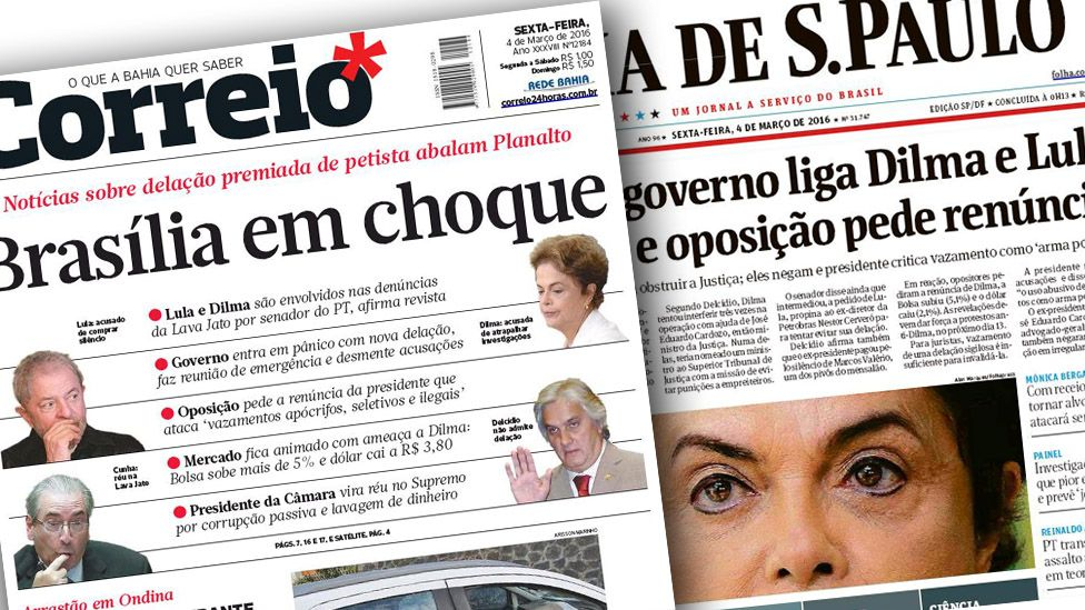 Front pages of Brazilian newspapers
