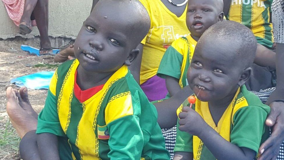 Ethiopian children rescued from South Sudan at a guest house in Gambella, Ethiopia