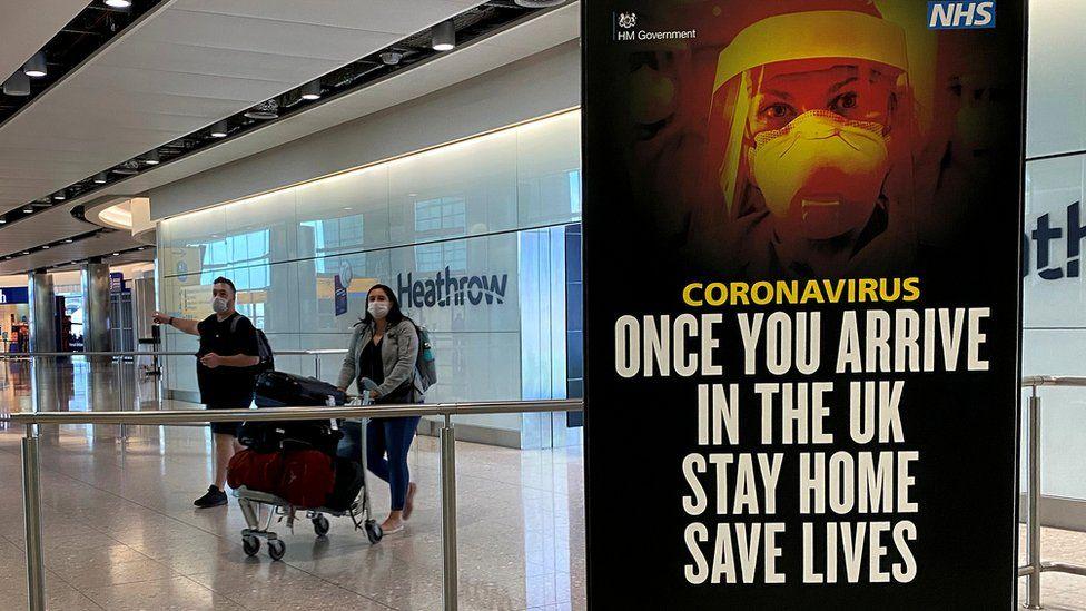 Coronavirus sign at Heathrow