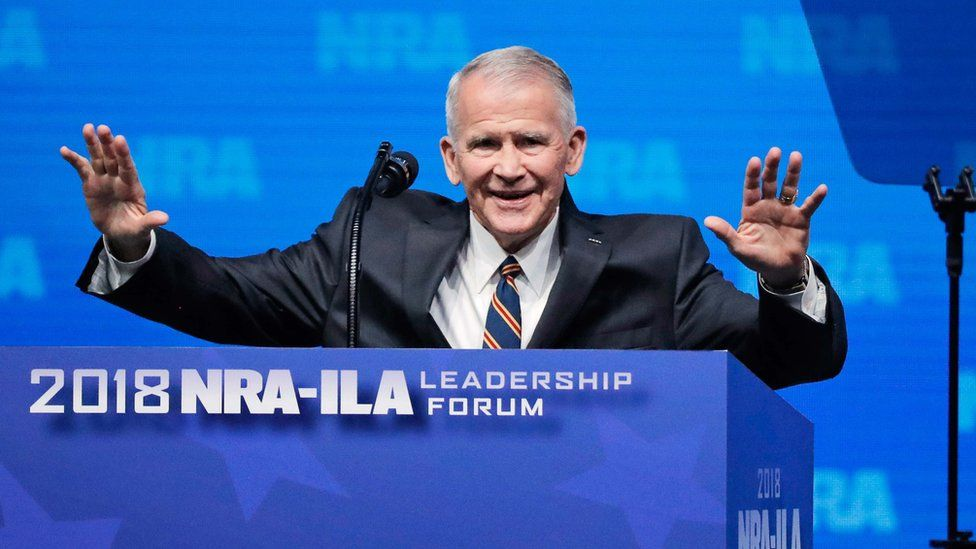 Oliver North speaks at an NRA convention in Dallas, Texas, US on 4 May 2018.
