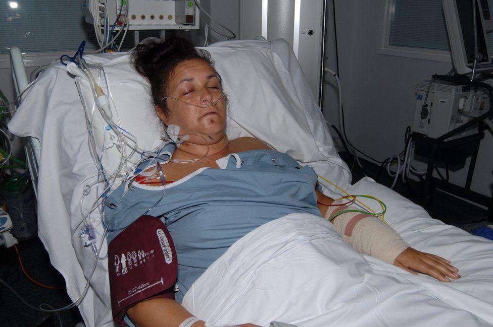 Janika Cartwright in hospital bed