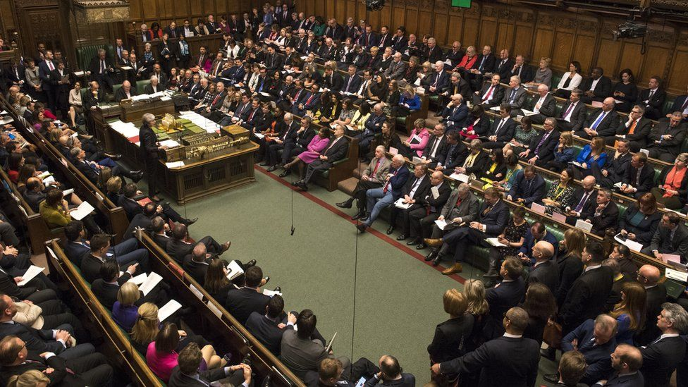 MPs in Commons during PMQs