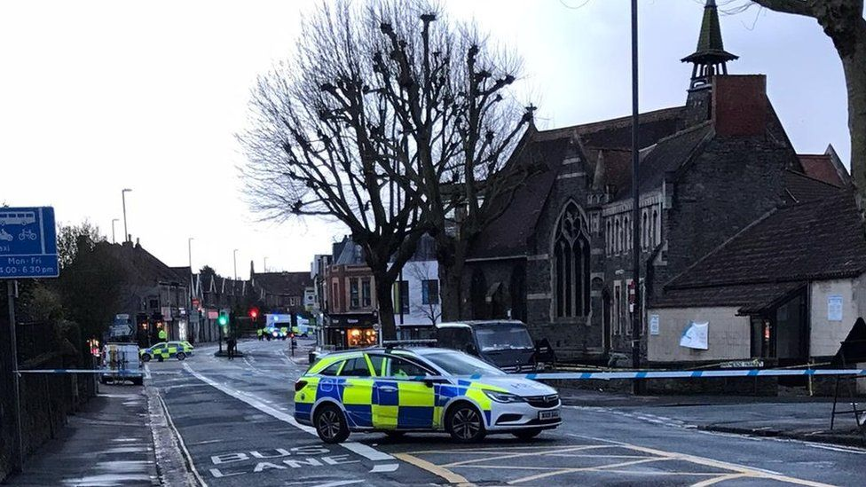 The Wells Road in Bristol cordoned off by police