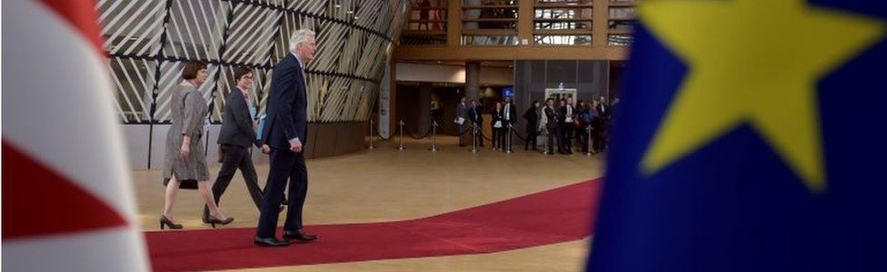 EU Brexit negotiator Michel Barnier arrives at the Brussels summit to approve negotiating guidelines, 29 April 2017