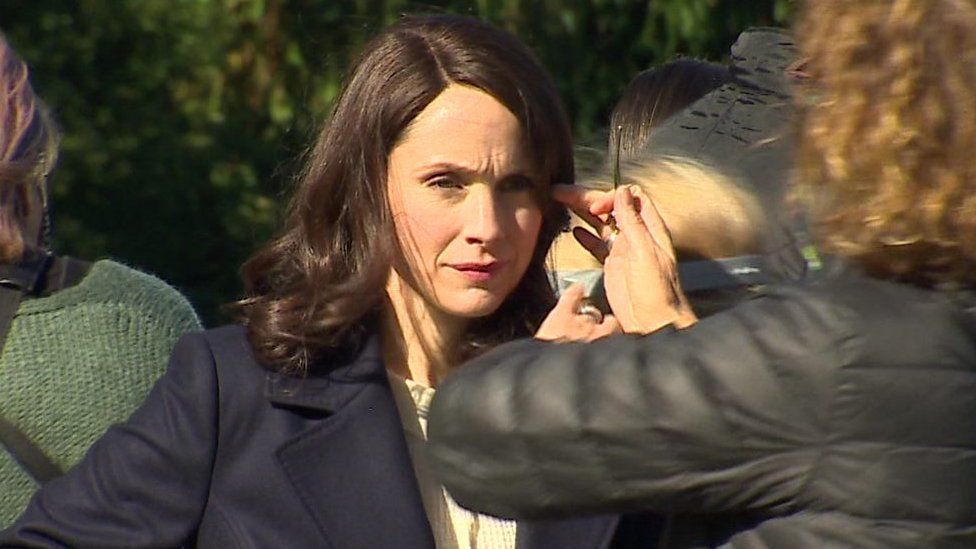 Breaking Bad actor Laura Fraser prepares for a scene in The Pact