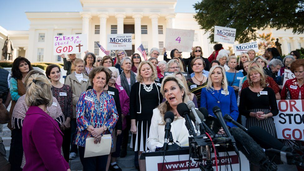 Kayla Moore, wife of Roy Moore, speaks during a rally in support of her husband in front of the Alabama State Capitol