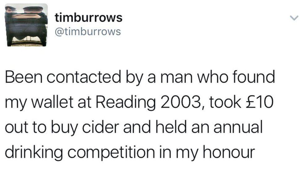 A tweet by Tim Burrows