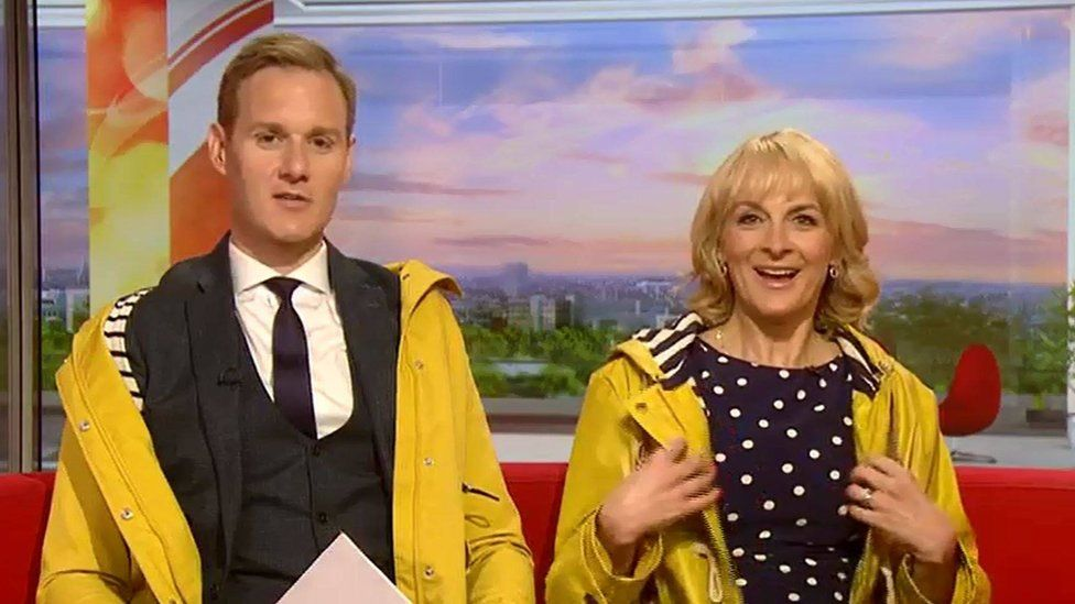 Dan Walker and Louise Minchin wearing yellow 'Keeping Faith' coats
