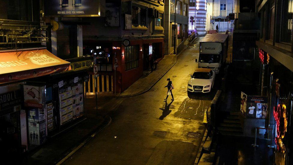 Lan Kwai Fong, Hong Kong's nightlife district, in March