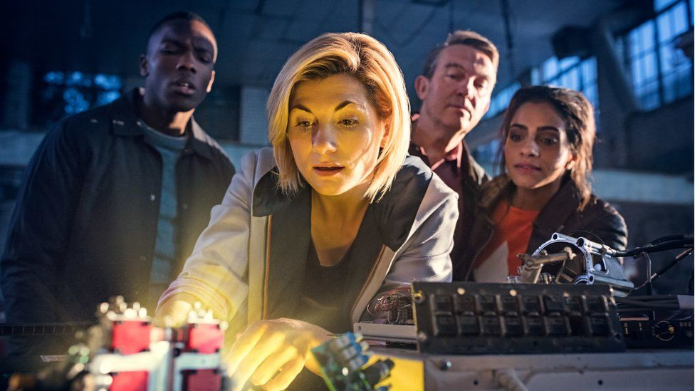 Left-right: Tosin Cole, Jodie Whittaker, Bradley Walsh and Mandip Gill
