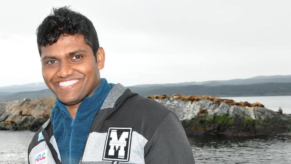 Anura Herath's career has taken him around the world - this picture was taken in Ushuaia, at the southern tip of Argentina