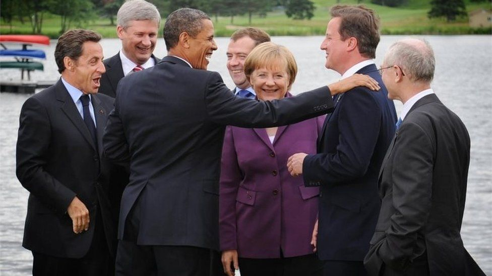 US President Barack Obama with Prime Minister David Cameron (second right), French President Nicholas Sarkozy (left) and other G8 leaders at a summit in Muskoka, Canada