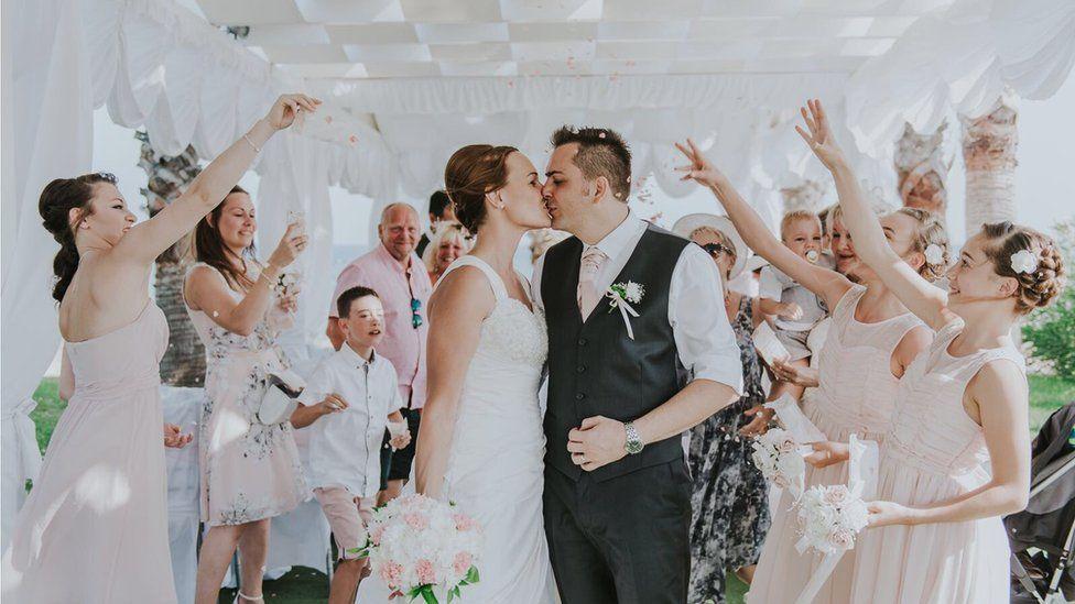 Debbie and Wayne Harding on their wedding day