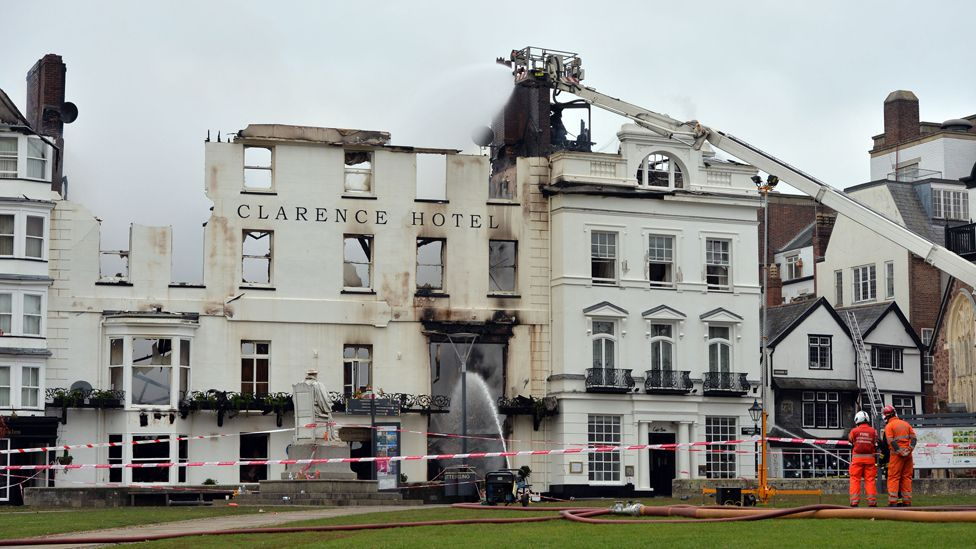 Burnt-out Royal Clarence hotel