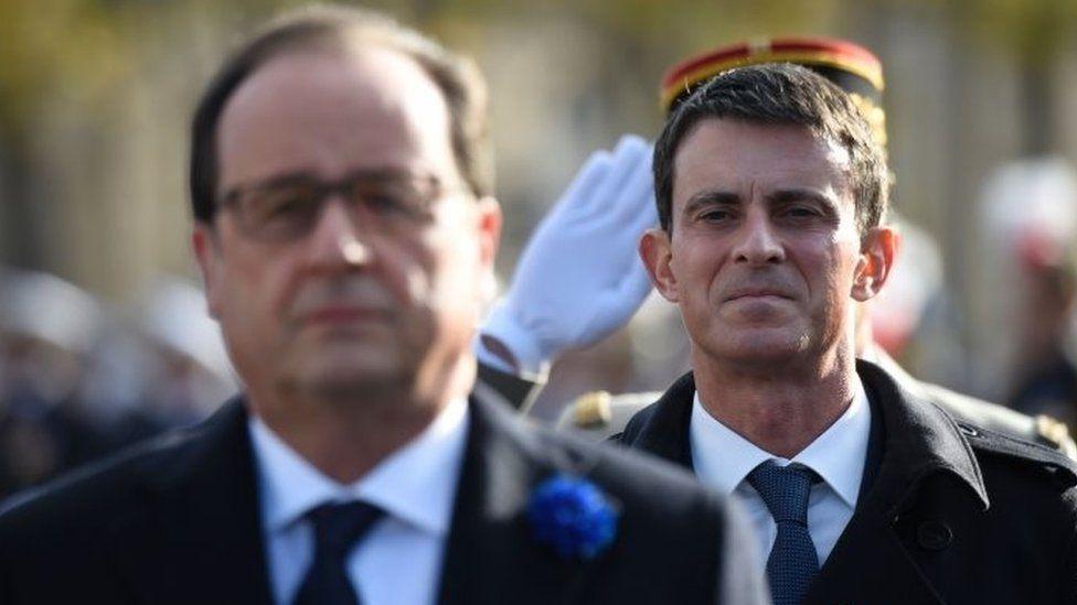 French President Francois Hollande (left) and Prime Minister Manuel Valls. Photo: 11 November 2016