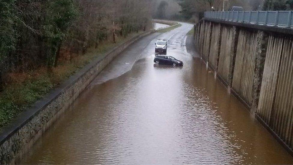 A470 Dolgellau bypass flooded