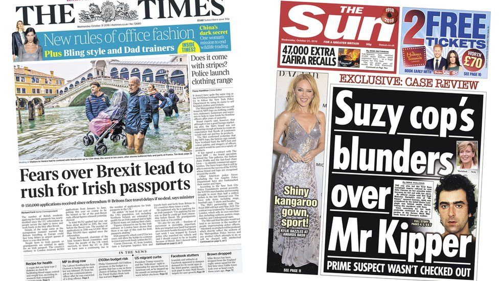 Times and Sun front pages for 31/10/18