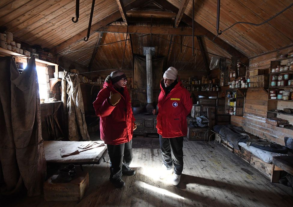 John Kerry in Shackleton's hut