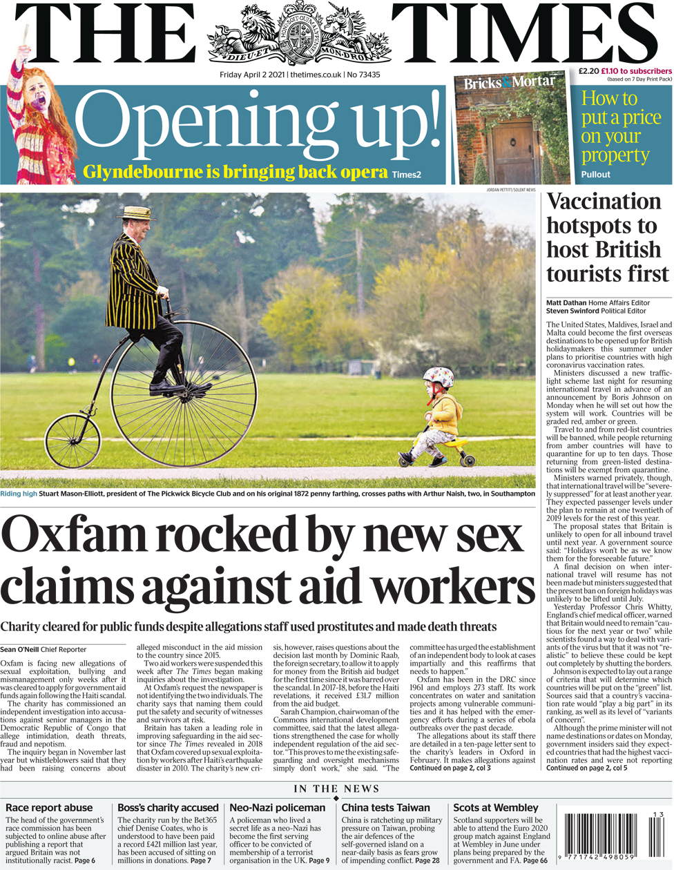 The Times front page 2 April 2021