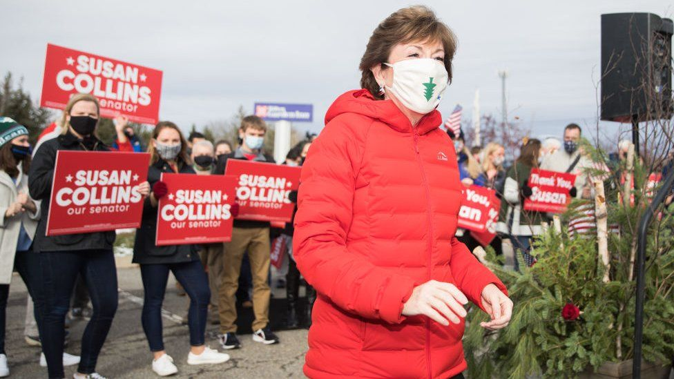 Susan Collins with her supporters in Bangor, Maine, on 4 November 2020