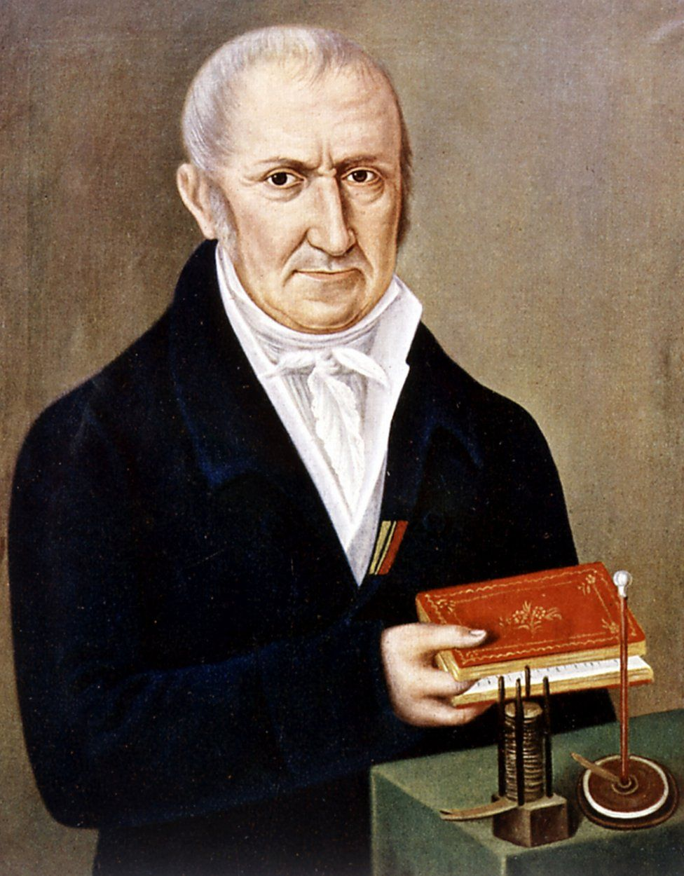 """A portrait of Alessandro Volta with his battery, or """"voltaic pile"""""""